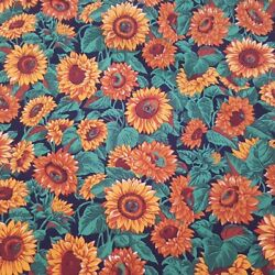 YELLOW SUNFLOWER PRINT POLY COTTON FABRIC 58