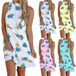 Women's Ladies Floral Sleeveless Mini Dress Beach Party Summer Casual Sundress $10.82