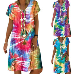 Plus Size Women Summer Short Sleeve V-Neck Mini Dress Beach Casual Boho Sundress $18.23