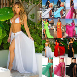 Womens Swimwear Bikini Cover Up Beach Wrap Long Skirt Sarong Pareo Dress Bathing $13.39