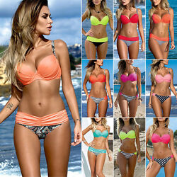 Womens Push Up Padded Bikini Set Swimwear Swimsuit Beach Strap Bra Bathing Suit $15.29