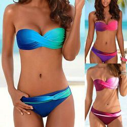 Womens Ladies Gradient Push Up Padded Bikini Set Swimming Swimwear Beach Bathing $16.81