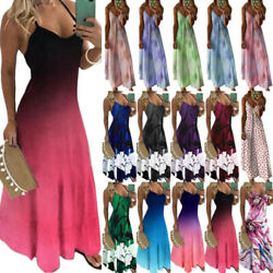 Plus Size Womens Strappy Maxi Dress Summer Beach Holiday Casual Party Sundress $18.52