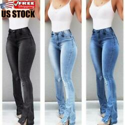 Women#x27;s High Waisted Flared Jeans Ladies Ripped Skinny Stretchy Denim Trousers $28.02