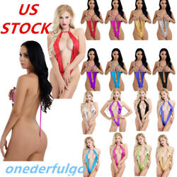 US Women Sexy Lingerie Shiny Leather Open Bust Bodysuit Thongs G-string Babydoll $4.74