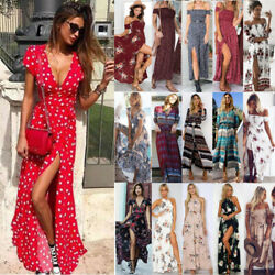 Womens Maxi Dress Floral Summer Beach Holiday Party Ladies Casual Slit Sundress $18.90