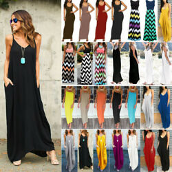 Women's Summer Sleeveless Maxi Dress Ladies Beach Holiday Casual Party Sundress $18.90