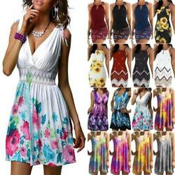 Women Floral Sleeveless Mini Dress Ladies Summer Casual Holiday Sun Dresses New $16.14