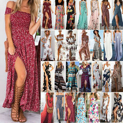 Womens Summer Boho Floral Maxi Dress Beach Holiday Party Casual Long Sundress US $19.37