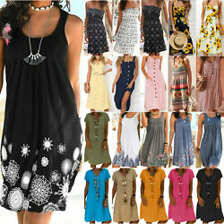 Women's Summer Holiday Boho Floral Print Dresses Ladies Beach Casual Midi Dress $20.32