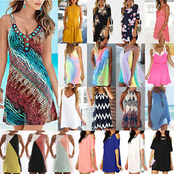 Womens Summer Floral Sundress Shift Casual Beach Party Tunic Shirt Mini Dress US $15.10