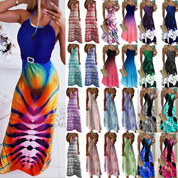 Womens Boho Floral Maxi Long Dress Summer Casual Beach Holiday Party Sundress