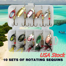 10pcs Fishing Lures Spinnerbaits Bass Trout Salmon Hard Metal Spinner Baits +Box $8.89