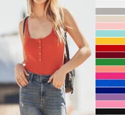 Women#x27;s Henley Tank Top Scoop Neck Solid Soft Stretch Knit Cotton Sleeveless $12.99