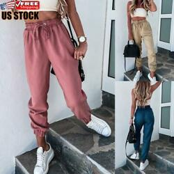 Women#x27;s Casual High Waisted Joggers Sweatpants Ladies Bottoms Jogging Gym Pants $17.38