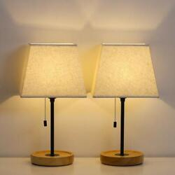 HAITRAL Modern Table Lamps Bedside Lamps Set of 2 with Convenient Pull Chain $32.79