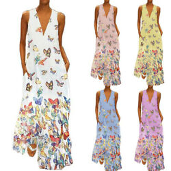 Women Boho Sleeveless Long Maxi Dress V-Neck Holiday Casual Beach Loose Sundress $16.05
