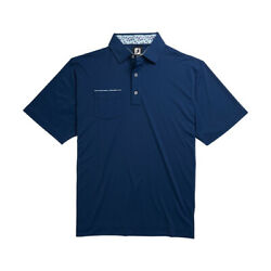 New Men's FootJoy Stretch Pique Floral Trim Polo Shirt - Deep Blue - Large $49.99