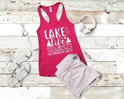 Lake Life Cuz Beaches Be Salty Funny Ladies Nautical Tank Top 7 COLORS AVAILABLE $9.97
