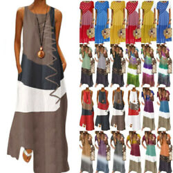 Women's Summer Tie Dye Long Maxi Dress Colorblock Casual Beach Kaftan Sundress $17.85