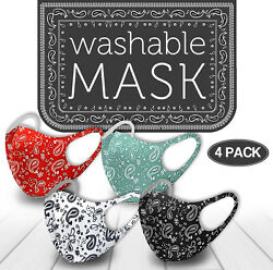 4 Pack Mix! Face Mask Paisley Reusable Washable Protection Cover Breathable $12.49
