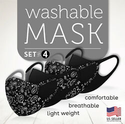 4 PC Paisley Mix Black Face Mask  Reusable Washable Protection Breathable Cover $11.99