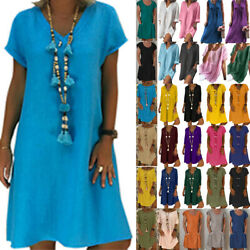 Plus Size Womens Boho Summer Baggy Tunic Dress Beach Casual Loose Sundress $12.15