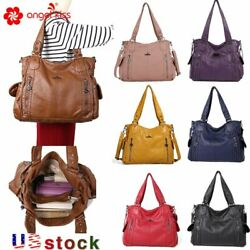 Angelkiss Brand Womens Soft Washed Leather Large Shoulder Bag  Solid Tote Bag $29.99