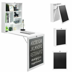 Wall Mounted Table Fold Out Convertible Desk with A BlackboardChalkboard White $179.99