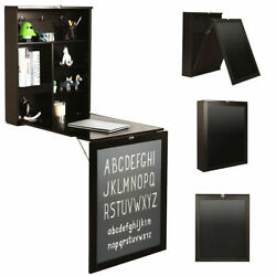 Wall Mounted Table Fold Out Convertible Desk with A BlackboardChalkboard Brown $155.99