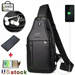 Mens Brand  Leather Sling Chest Pack USB Charging Port Business Cross Body Bag $25.99