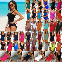 Women Push Up Bikini One Piece Monokini Swimsuit Plain Swimwear Bathing Suit $14.34