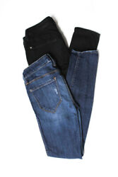 Genetic Denim Womens Mid Rise Skinny Jeans Black Blue Cotton Size 24 Lot of 2 $24.01