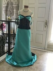 NEW prom pageant FIT & Flare satin lace dress  W sweep train 8 $90.30