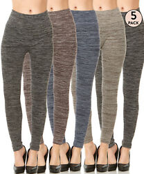 5 Pack Women#x27;s High Waisted Fleece Lined Leggings Warm Winter Thermal Thick Pant $24.99