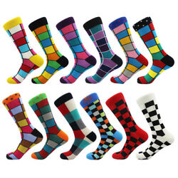 NEW Mens Funny Cotton Socks Novelty Colorful Plaids amp; Checks Casual Dress Socks $3.26