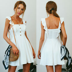 Womens Summer Boho Ruffle Sleeve Mini Dress Party Holiday Casual Skater Sundress $14.15