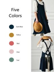 Cute Stylish Nordic Style Cotton Linen Cross Back Apron for Women with Pockets $16.95