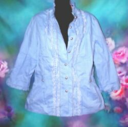 MAGGIE SWEET NEW HSN Periwinkle Blue Purple Lace Ruffle BLOUSE Top Size medium M