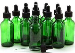 2 oz Green Boston Glass Bottles with Glass Eye Droppers (12-PACK)  $14.99