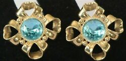 1981 Vintage BOW w.BLUE Stone GIVENCHY© Earrings $50 in 1981 CLIP New ORIG Card $44.97