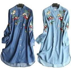 Plus Size Womens Denim Long Sleeve Embroidered Floral Shirt Dress Loose Blouse $18.52