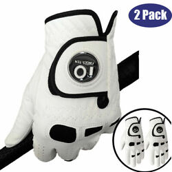 Mens Golf Gloves with Ball Marker 2 Pack Left Hand Right Leather Grip US Stock $12.99