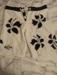 Corona Extra Floral Swimming Trunks White Trunks With Navy Blue Size XL $14.00