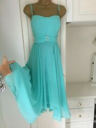 Debenhams size uk 16 lined chiffon occasion dress in vg con bust 40