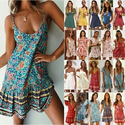 Women Boho Floral Short Mini Dress Party Summer Beach Evening Holiday Sundress $14.15