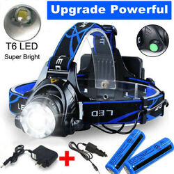 1000000LM Rechargeable Head light LED Tactical Headlamp Zoomable2x ChargerBatt $11.99
