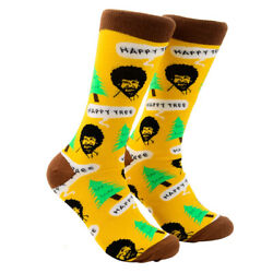 Funny Colorful Bob Ross Happy Trees Mens Novelty Crew Tube Dress Socks Fun Gift $12.00