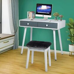 Small Simple White Computer Desk and Chair Writing Study Desk with Drawers  $99.99