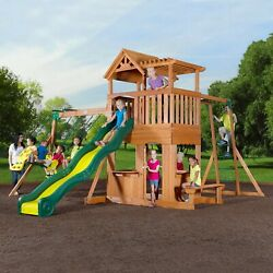 Cedar Wood Huge Outdoor Playground Swing Set Play Ground Fort Slide $1,319.58